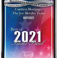 Cambria Mortgage, The Joe Metzler Team Receives 2021 Best of Saint Paul Award