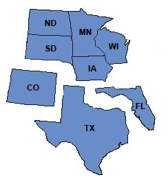 We lend in MN, WI, SD, ND, IA, CO, TX, FL